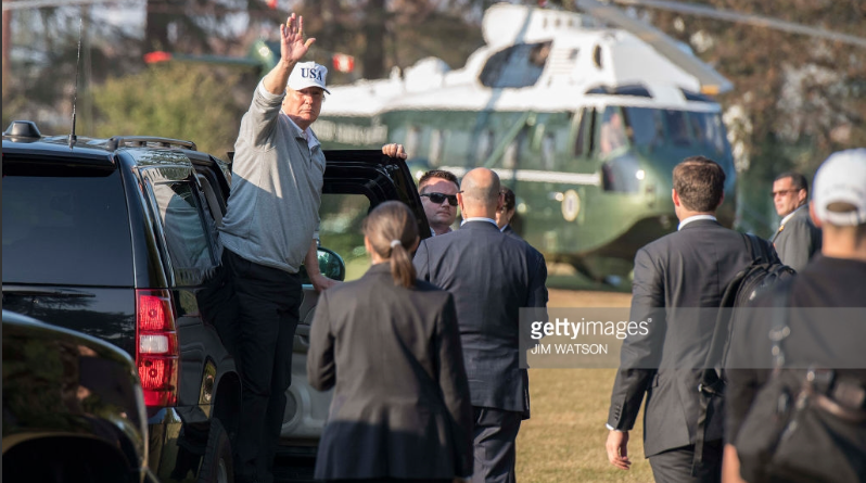 President Trump after playing a round of golf with Japanese Prime Minister Shinzo Abe at the Kasumigaseki Country Club Golf Course in Kawagoe, near Tokyo, Japan
