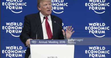 US President Donald Trump speaking at the World Economic Forum in Davos, Switzerland, today