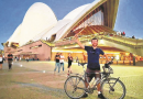 Josiah Skeats arrives in Sydney after cycling from Herne Bay to Australia